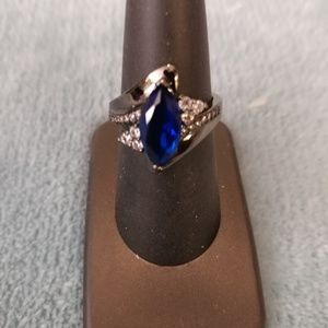 Jewelry - Blue Crystal Black Gold Plated